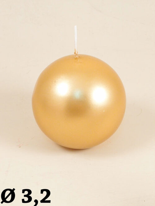 Candela cera a sfera oro/argento made in germany Col. oro