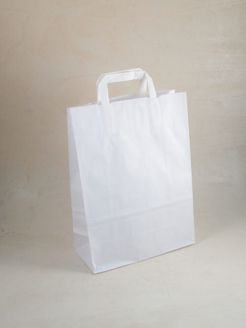 Borsa shopper carta piattina kraft bianco made in italy