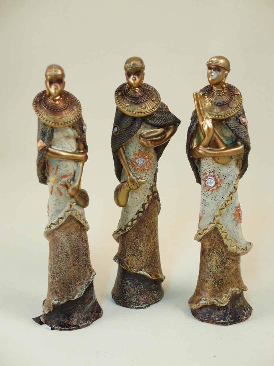 Soprammobile statuette decorative donne masai resina