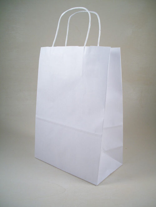 Borsa shopper carta kraft bianco manici torciglione made in italy