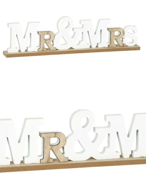 "Scritta decorativa in legno ""mr & mrs"""